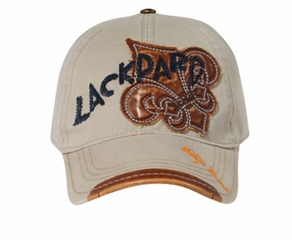 Leather Patches Embroidered Hat - Lackpard Cap - Khaki