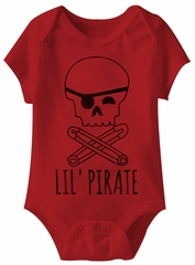 Lil Pirate Funny Baby Romper Red Infant Babies Creeper