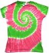 Lime Green Swirl Juniors Shirt - Tie Dye Tee