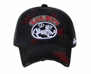 Lion on Distressed Patch Vintage Hat - Lackpard Cap - Black