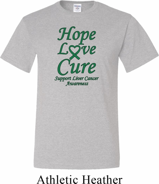 3cd718dbc Liver Cancer Awareness Hope Love Cure Tall Shirt - Hope Love Cure ...