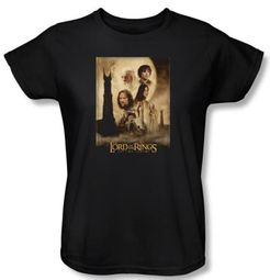 Lord Of The Rings Ladies T-Shirt Towers Movie Poster Black Tee