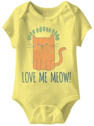 Love Me Meow Funny Baby Romper Yellow Infant Babies Creeper