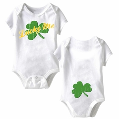 Lucky Me Funny Baby Romper White Infant Babies Creeper