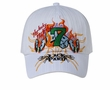 Lucky Number 7 Hat with Dice and Flames - Lackpard Cap - White