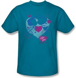Lucy Shirt - Cartoon Kiss Adult Unisex Turquoise Tee