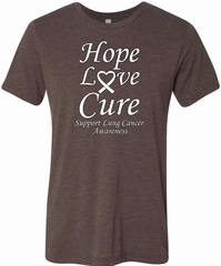 Lung Cancer Hope Love Cure Tri Blend Tee