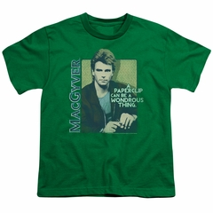 MacGyver Kids Shirt Wonderous Paperclip Kelly Green T-Shirt