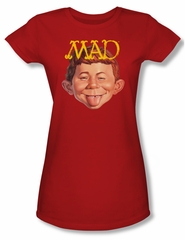 Mad Magazine Juniors Shirt Absolutely Mad Red Tee T-Shirt