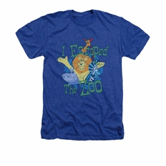 Madagascar Shirt Escaped Adult Heather Royal Blue Tee T-Shirt