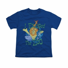 Madagascar Shirt Kids Escaped Royal Blue Youth Tee T-Shirt