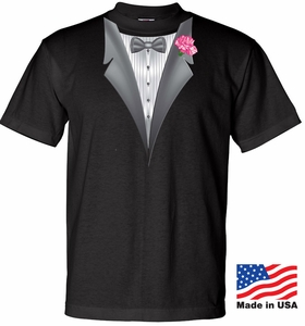 Mens Tuxedo Tee Shirt with Pink Flower – Black