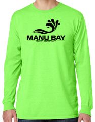 Manu Bay Surf Company Logo Mens Cotton Long Sleeve Pastel Tee Shirt