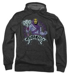 Masters Of The Universe Hoodie Sweatshirt Skeletor Charcoal Adult Hoody