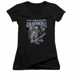 Masters Of The Universe Shirt Juniors V Neck Straight Outta Grayskull Black Tee T-Shirt