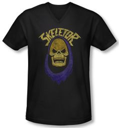Masters Of The Universe Shirt Slim Fit V Neck Skeletor Hood Black Tee