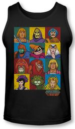 Masters Of The Universe Tank Top Character Heads Black Tanktop
