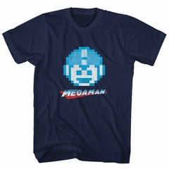 Mega Man Shirt Megaface Navy Blue T-Shirt