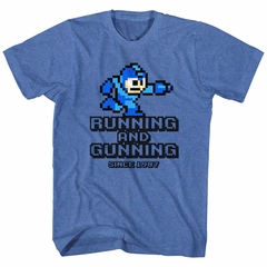 Mega Man Shirt Running And Gunning Blue Heather T-Shirt