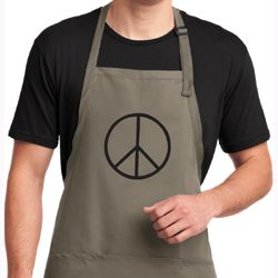 Mens Apron Basic Peace Black Full Length Apron with Pockets