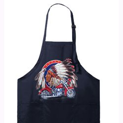 Mens Apron Big Chief Indian Motorcycle Full Length Apron with Pockets