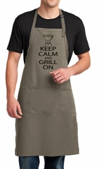 Mens Apron Black Keep Calm Grill On Full Length Apron with Pockets