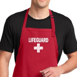 Mens Apron Distressed Lifeguard Full Length Apron with Pockets