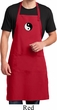Mens Apron Yin Yang Patch Small Print Full Length Apron with Pockets