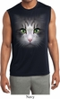 Mens Big Cat Face Sleeveless Moisture Wicking Tee T-Shirt