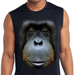 Mens Big Orangutan Face Sleeveless Moisture Wicking Tee T-Shirt
