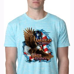 Mens Biker Shirt American By Birth Burnout Tee T-Shirt
