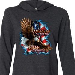 Mens Biker Shirt American By Birth Lightweight Hoodie Tee