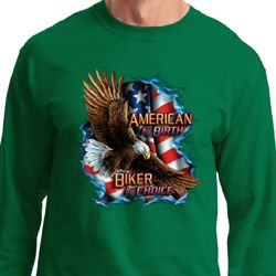 Mens Biker Shirt American By Birth Long Sleeve Tee