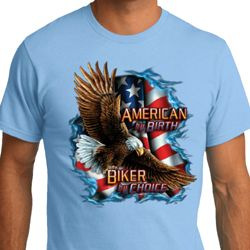 Mens Biker Shirt American By Birth Organic Tee T-Shirt