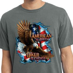 Mens Biker Shirt American By Birth Pigment Dyed Tee T-Shirt