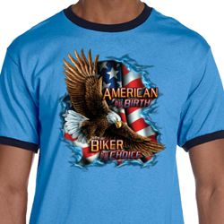 Mens Biker Shirt American By Birth Ringer Tee T-Shirt