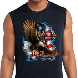 Mens Biker Shirt American By Birth Sleeveless Moisture Wicking Tee