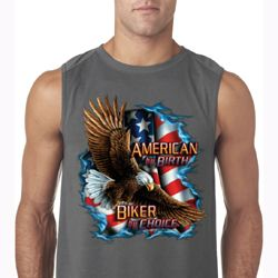 Mens Biker Shirt American By Birth Sleeveless Tee T-Shirt