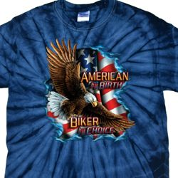 Mens Biker Shirt American By Birth Spider Tie Dye Tee T-shirt