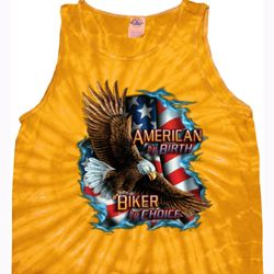 Mens Biker Shirt American By Birth Tank Tie Dye Tee T-shirt