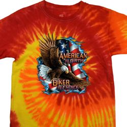 Mens Biker Shirt American By Birth Tie Dye Tee T-shirt