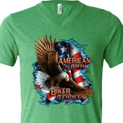 Mens Biker Shirt American By Birth Tri Blend V-neck Tee