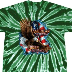 Mens Biker Shirt American By Birth Twist Tie Dye Tee T-shirt