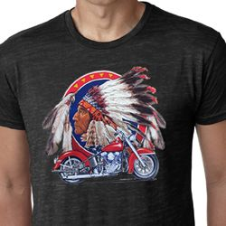 Mens Biker Shirt Big Chief Indian Motorcycle Burnout Tee T-Shirt