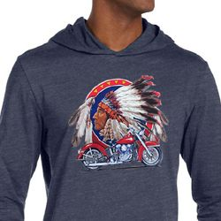 Mens Biker Shirt Big Chief Indian Motorcycle Lightweight Hoodie Tee