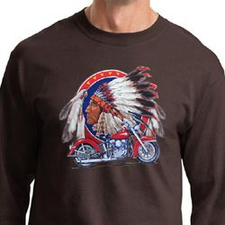 Mens Biker Shirt Big Chief Indian Motorcycle Long Sleeve Tee T-Shirt