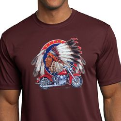 Mens Biker Shirt Big Chief Indian Motorcycle Moisture Wicking Tee