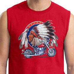 Mens Biker Shirt Big Chief Indian Motorcycle Muscle Tee T-Shirt