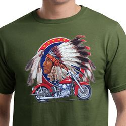 Mens Biker Shirt Big Chief Indian Motorcycle Organic Tee T-Shirt