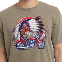Mens Biker Shirt Big Chief Indian Motorcycle Pigment Dyed Tee T-Shirt
